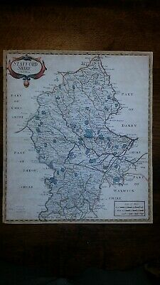 1695 / 1722 Original Antique Map Staffordshire  Robert Morden Camden's Britannia