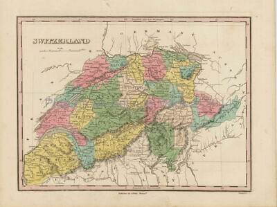 Switzerland Schweiz Antique Map Finley 1824 Original