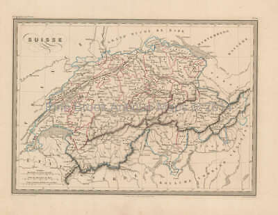 Switzerland Antique Map Malte Brun 1850 Original