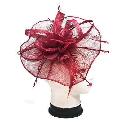 Elegant Large Flower Feather Fascinator With Detachable Headband and Clip
