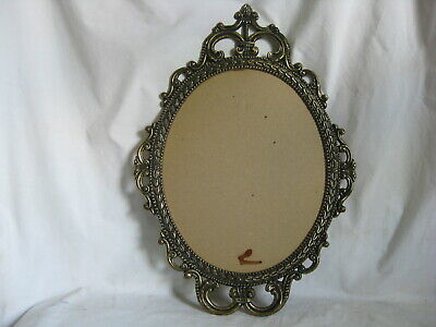 "large ornate metal vintage picture frame photo wall decor oval 11"" x 8.75"""