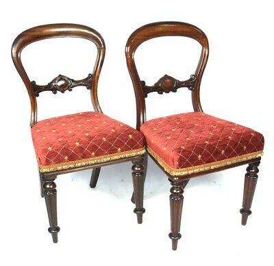 A Pair of Antique Mahogany Balloon Back Chairs - FREE Shipping [5135]