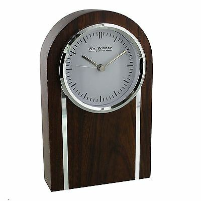 Wm Widdop White Dial Silver Trim Dome Brown Wood Case Mantel Clock W2794