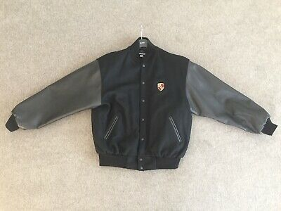 0c1507b6f PORSCHE MENS LARGE Black Leather/Wool Varsity Jacket - Excellent ...