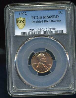1972 Lincoln Cent,Double Die Obverse PCGS MS65RB, inv# SL1364