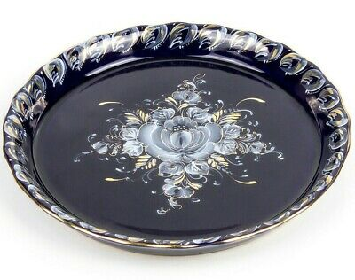 """6.7"""" Round Gzhel Porcelain Serving Platter w/ Floral Pattern Handmade in Russia"""