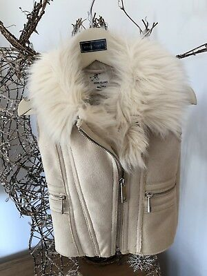 River Island Mini girls cream faux fur gilet Size 12-18ths VGC RRP £40