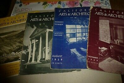 California Arts & Architecture magazine lot of 4 vintage issues 1938-1939