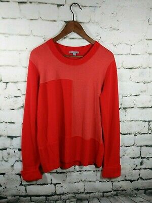 23efdb1486cd3 COS Womens size L Large 100% WOOL Sweater color block patch orange crew neck