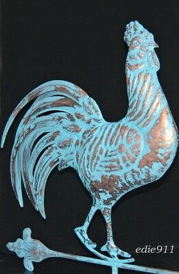 LARGE 3D Strutting ROOSTER Weathervane AGED COPPER PATINA FINISH Handcrafted