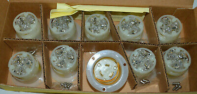 Box Of (10) HUBBELL 2325 Twist-Lock Flanged Inlet