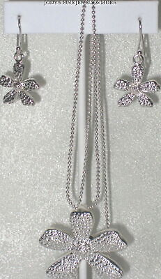 """Spectacular Estate Sterling Silver Floral Wildflower Earring & 24"""" Necklace Set"""