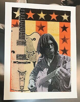 """Neil Young """"Into the Black"""" art poster Print Mafia S/N x/80 fairey Harvest"""
