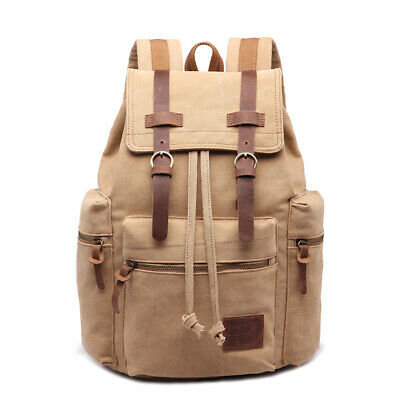 8240cb4d4cb MENS VINTAGE CANVAS Backpack College Leather Camping Satchel 16 ...