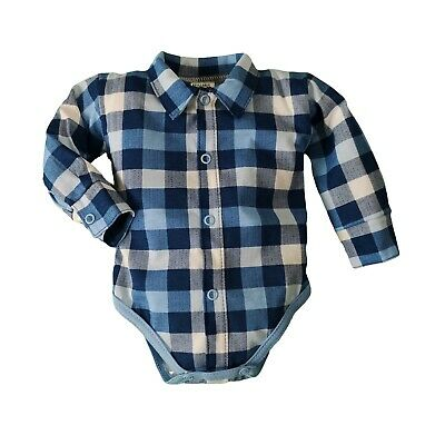 BNWT Baby Boy Blue CHECKED Shirt Bodysuit Smart Vest 0-3/3-6/6-9/9-12/12-18
