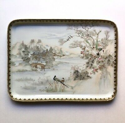 Large Antique Japanese Porcelain Tray Landscape Scene, Signed Late Meiji-Taisho
