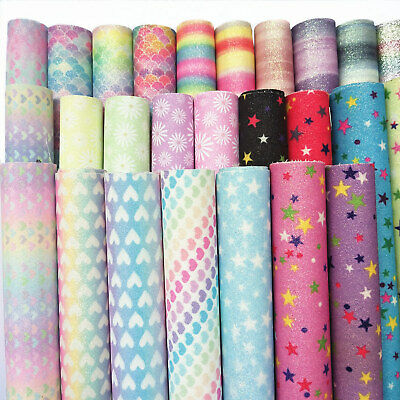 """8""""x12"""" Floral Prints Fine Glitter Faux Leather Fabric A4 Sheet Vinyl Bows Craft"""