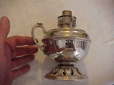 BRADLEY HUBBARD Junior Miniature Embossed Brass Kerosene Oil Finger Lamp Nickel