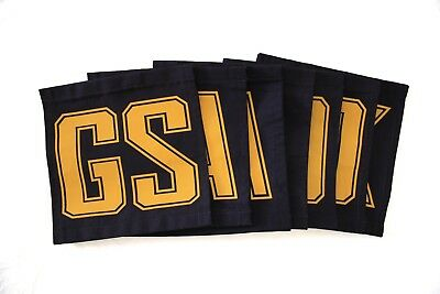 Netball Velcro Bibs in Navy & Gold (Excellent Condition)