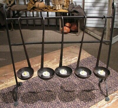 NEW!! Primitive Vintage Farmhouse Wrought Iron Five Spoon Tea Light Candle Stand