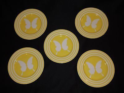 "5 Vintage Fitz and Floyd Papillion Yellow Butterfly Bands 7 1/2"" Salad Plates"