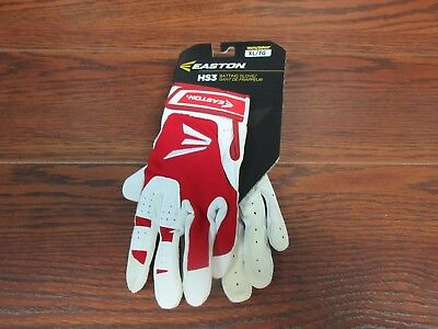 Easton HS3 Youth XL Batting Gloves Red White NEW