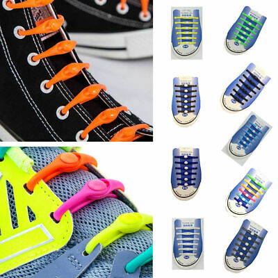 12x Lazy No Tie Elastic Silicone Shoe Laces Athletic Running Sport Shoelaces H9