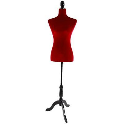 Red Female Mannequin Torso Dress Clothing Form Display Black Tripod Stand