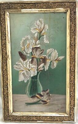 Antique Framed Original Iris Oil Painting on Board - Signed - Floral