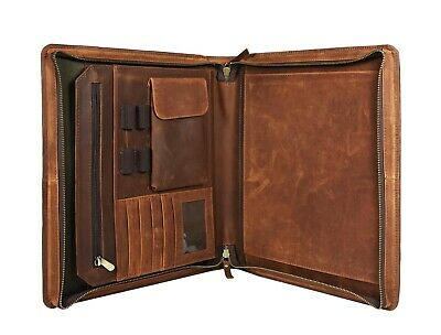 Buffalo Leather Portfolio A4 Folder Padfolio Executive Organizer File Zippered