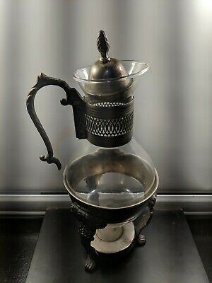 Raimond Silver Silverplate Glass Coffee Carafe Pitcher, Lid & Base vintage