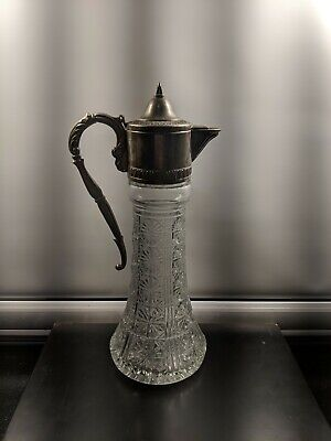 Antique Silver Plated Lead Crystal Tall Serving Decanter Carafe Pitcher