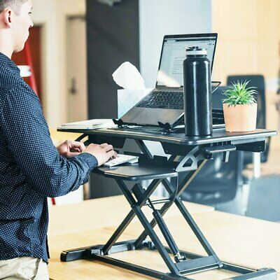 """26/"""" wide Height Adjustable Stand up Desk Computer Riser with Keyboard Tray BT"""