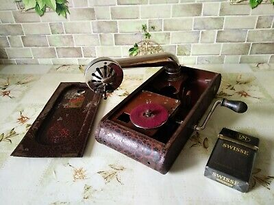 "Vintage rare USSR mini GRAMOPHONE PHONOGRAPH Record Player small 1930""-1940""(EX)"