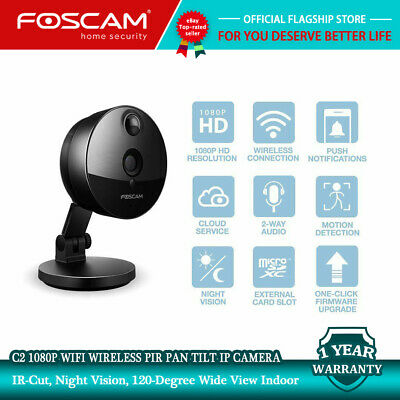 FOSCAM R2C BLACK Full HD 1080P WiFi IP Camera Pan/Tilt Home