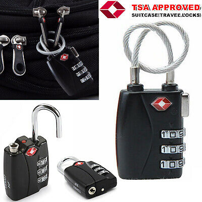 TSA Password Lock Security Padlock Cable Travel Suitcase Luggage Long Wire Alert
