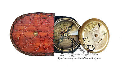 Brass Handmade Collectibles Pocket Compass with 100 year calendar & world time