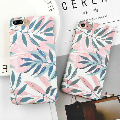 Hard Case For Apple iPhone X XR 6 7 6s 8 Plus Shockproof Phone Cover Leaf Skin