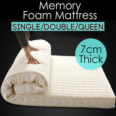7CM Memory Foam Mattress Topper Bed Underlay Protector Single Double Queen Firm