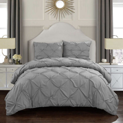 Pintuck Pleated Duvet Quilt Cover Bedding Set Cotton Double Super King Size