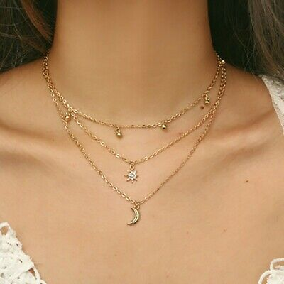 Fashion Women Multilayer Clavicle Chains Necklace Pendant Charm Choker Jewelry