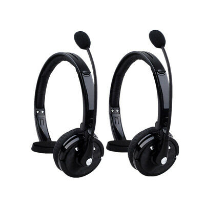 2x Noise Cancelling Wireless Handsfree Bluetooth Boom Mic Headset for Cell Phone