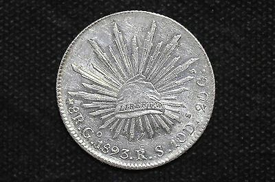 Mexico - Republic 1893 Go RS 8 Reales Silver Coin ( Weight : 26.96 g ) C28