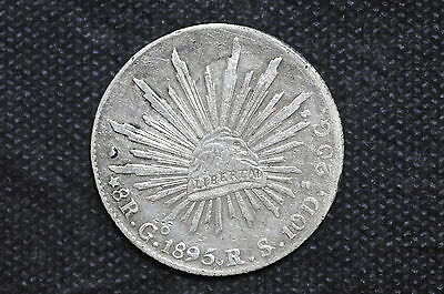 Mexico - Republic 1895 Go RS 8 Reales Silver Coin ( Weight : 26.88 g ) C29