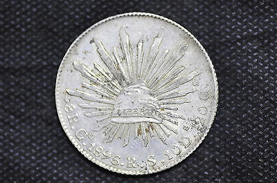 Mexico - Republic 1896 Go RS 8 Reales Silver Coin ( Weight : 26.95 g ) C90