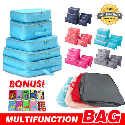 5/6pcs Packing Cube Pouch Suitcase Clothes Storage Bags Travel Luggage Organizer