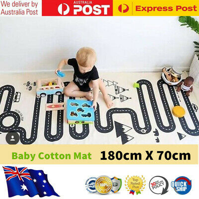 Kids Car Racing Track Playmat Baby Crawling Rug Childrens Cotton Game Mat