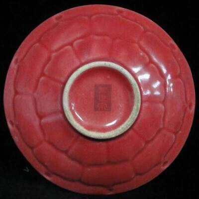 Rare Ancient Artwork Chinese Red Glaze Hand Made Porcelain Plate Mark