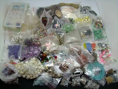 Job Lot of beads and 'bits' - plastic/wood/shell for the making of jewellery
