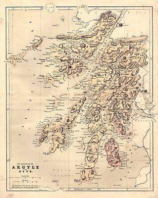 An enlarged map of Counties.Argyle & Bute, original map dated 1860.